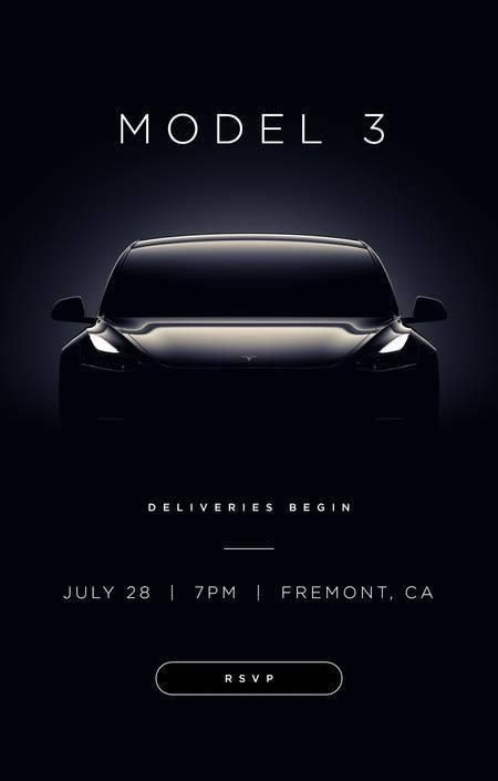 Esimeste Tesla Model 3 üleandmise kutsed